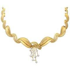 Vintage Belgian 1950s Diamond and Yellow Gold Necklace