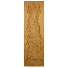 Vintage Belgische Geschnitzte Holz Figural Spekulatius Cookie Schimmel, 1980er Jahre
