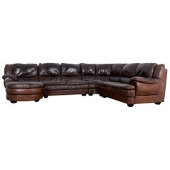 Vintage Belgian Four-Piece Leather Sectional Sofa