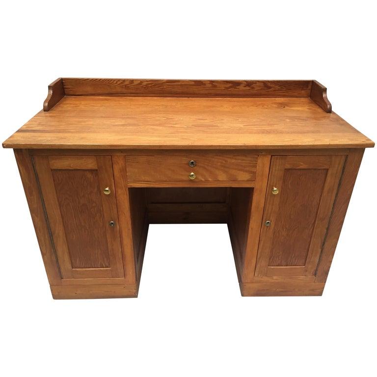 Pleasing Vintage Belgian Heart Pine School Masters Desk Circa 1940 Interior Design Ideas Lukepblogthenellocom