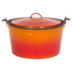 Vintage Belgian Red-Orange Enameled Casserole