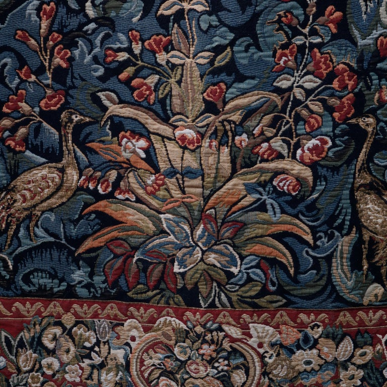Vintage Belgium Flemish Style Tapestry Garden Scene with Peacock, 20th Century In Good Condition For Sale In Big Flats, NY