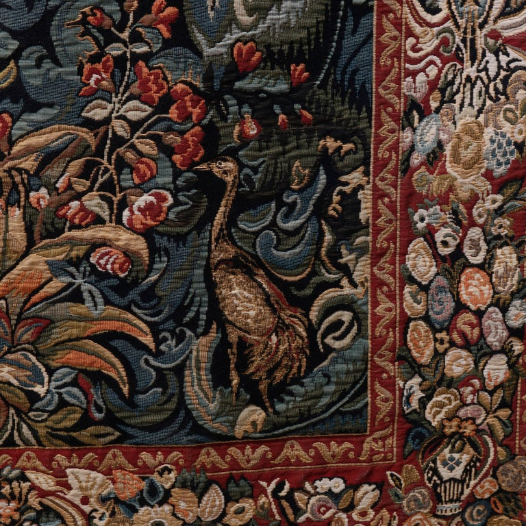 Vintage Belgium Flemish Style Tapestry Garden Scene with Peacock, 20th Century For Sale 2