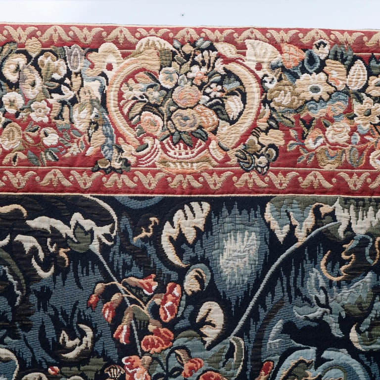 Vintage Belgium Flemish Style Tapestry Garden Scene with Peacock, 20th Century For Sale 3