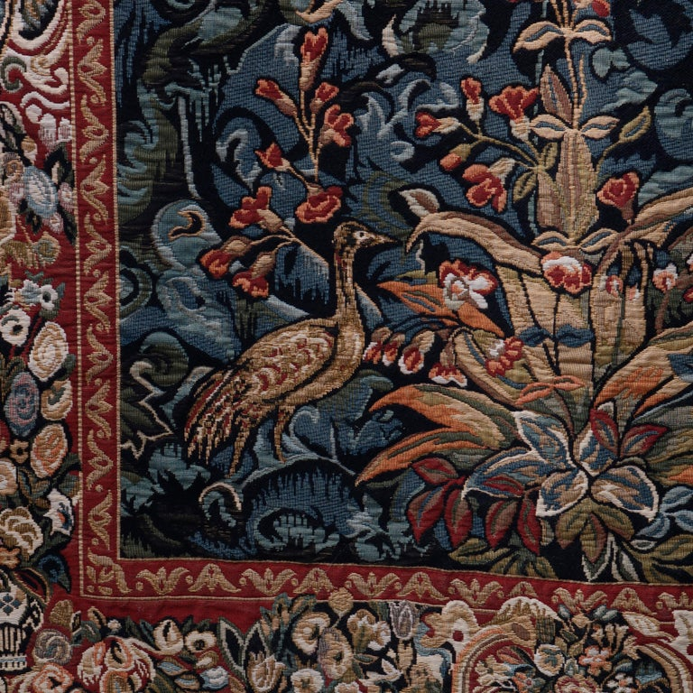 Vintage Belgium Flemish Style Tapestry Garden Scene with Peacock, 20th Century For Sale 5