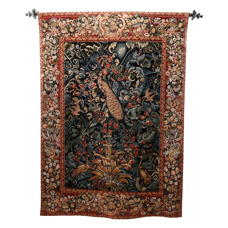 Vintage Belgium Flemish Style Tapestry Garden Scene with Peacock, 20th Century For Sale