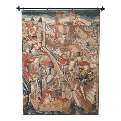 Vintage Belgium Flemish Style Tapestry with Medieval Scene, 20th Century