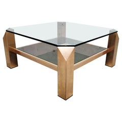 Vintage Belgochrom 23-Karat Coffee Table, 1970s