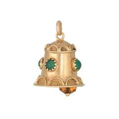 Vintage Bell Charm Pendant 18 Karat Gold Citrine Chrysoprase Estate Jewelry