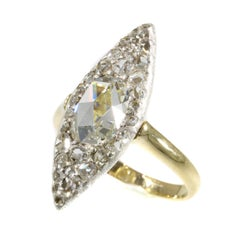 Vintage Belle Époque Navette Shaped Diamond Ring