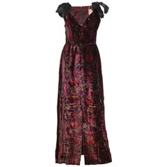 Vintage Bellville Sassoon Silk Velvet Evening Gown