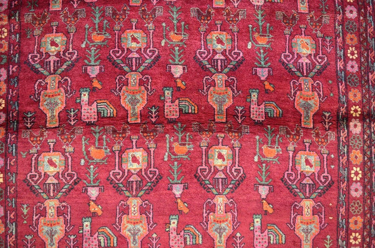 Vegetable Dyed Vintage Belouchi Persian Carpet, circa 1940 in Pure Wool with Peacock Design For Sale