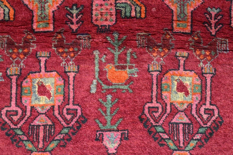 Vintage Belouchi Persian Carpet, circa 1940 in Pure Wool with Peacock Design In Good Condition For Sale In New York, NY