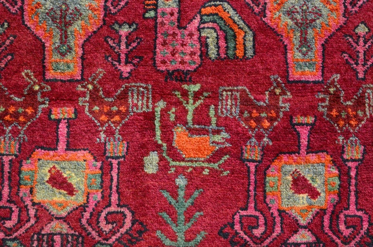 Mid-20th Century Vintage Belouchi Persian Carpet, circa 1940 in Pure Wool with Peacock Design For Sale