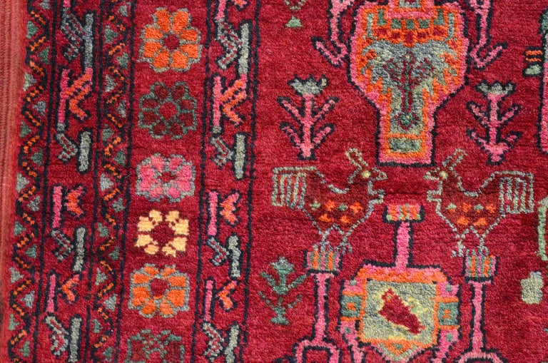 Vintage Belouchi Persian Carpet, circa 1940 in Pure Wool with Peacock Design For Sale 2
