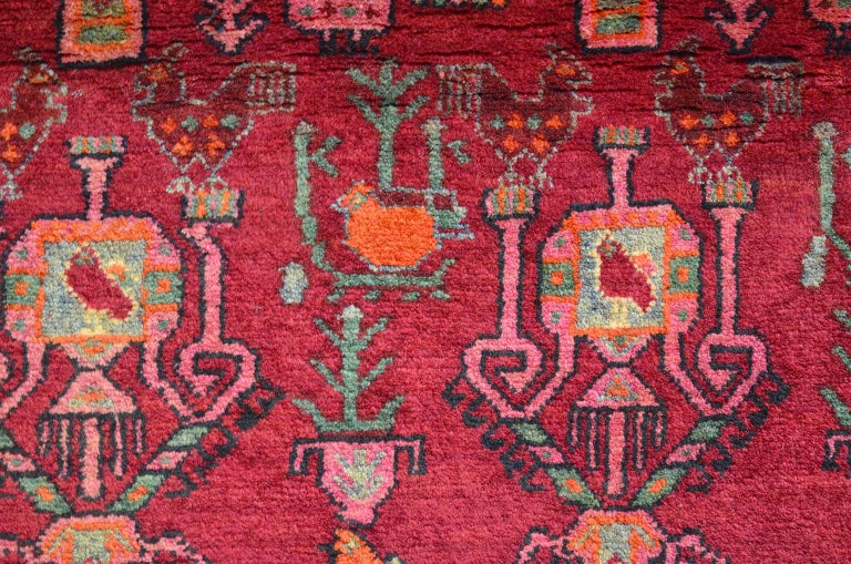 Vintage Belouchi Persian Carpet, circa 1940 in Pure Wool with Peacock Design For Sale 3