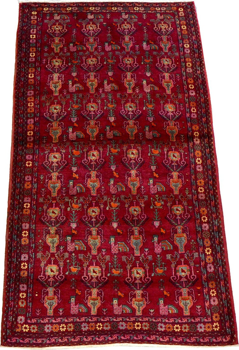 Vintage Belouchi Persian Carpet, circa 1940 in Pure Wool with Peacock Design For Sale 4