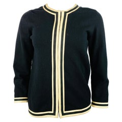 Vintage Belrnciaga Paris Black Wool Cardigan Sweater Size 40