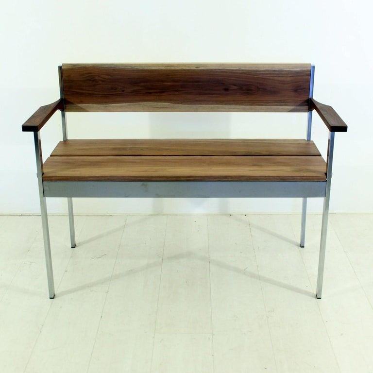 - Vintage bench in solid walnut - Features armrests dark teak - Honed and oiled - Non-toxic wood worm treatment.