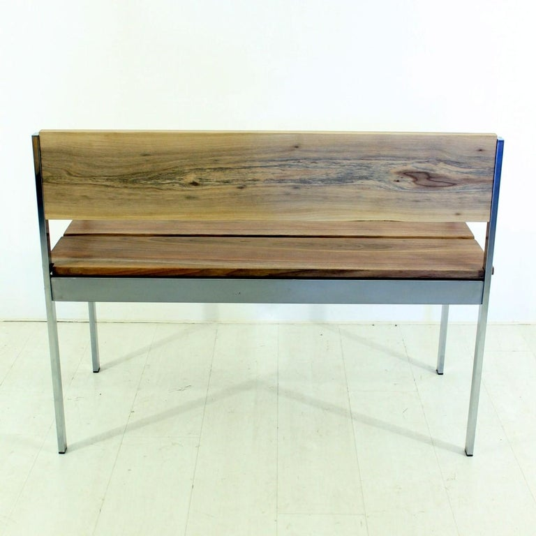 German Vintage Bench in Chrome and Walnut For Sale
