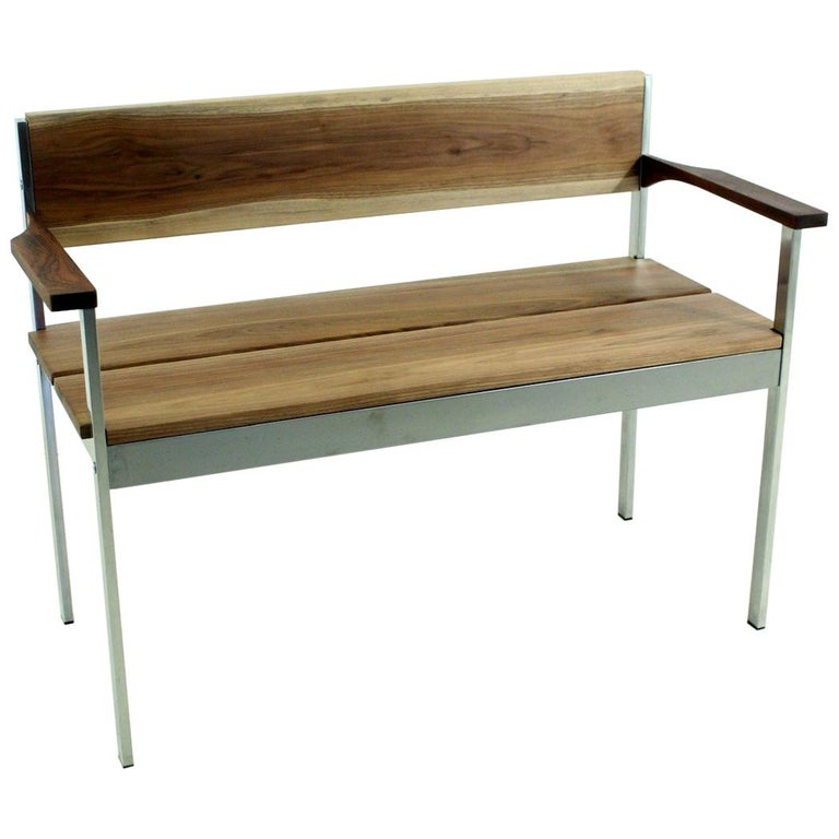 Vintage Bench in Chrome and Walnut For Sale