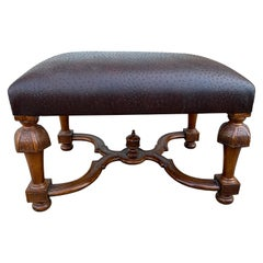 Vintage Bench/Ottoman Upholstered in Faux Ostrich Leather