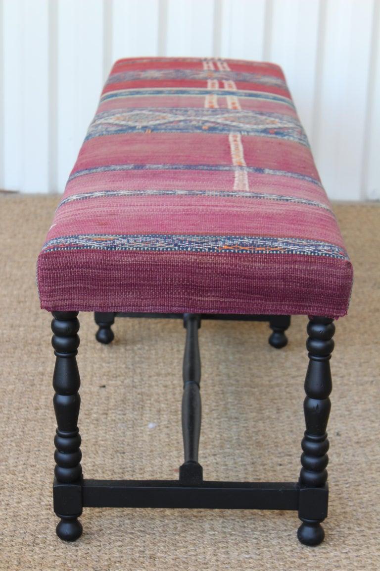 Vintage Bench Upholstered in a Turkish Kilim Rug For Sale 5