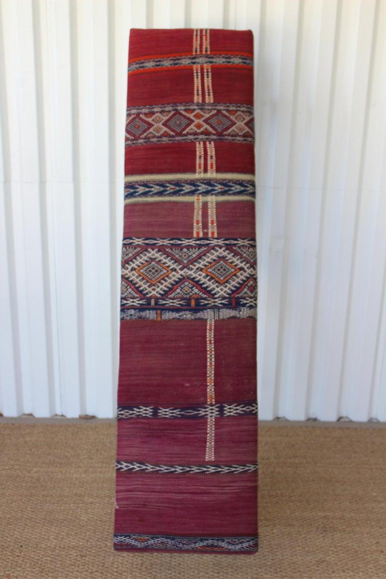 Vintage Bench Upholstered in a Turkish Kilim Rug For Sale 6