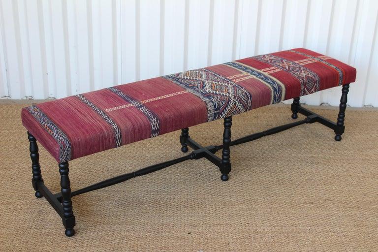 American Vintage Bench Upholstered in a Turkish Kilim Rug For Sale