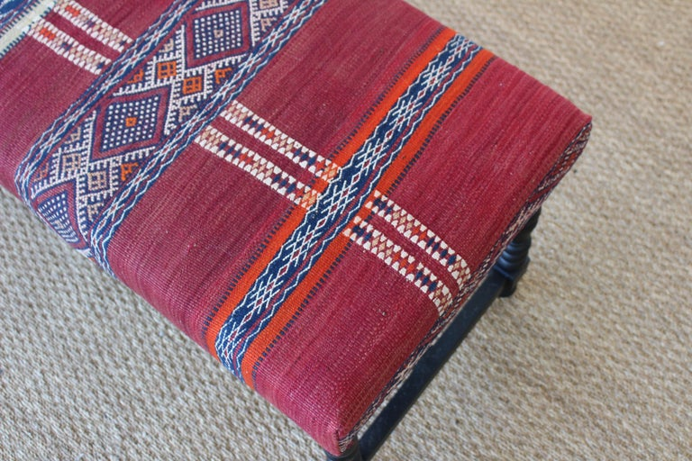 Vintage Bench Upholstered in a Turkish Kilim Rug In Excellent Condition For Sale In Los Angeles, CA