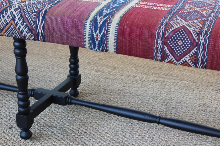 Upholstery Vintage Bench Upholstered in a Turkish Kilim Rug For Sale