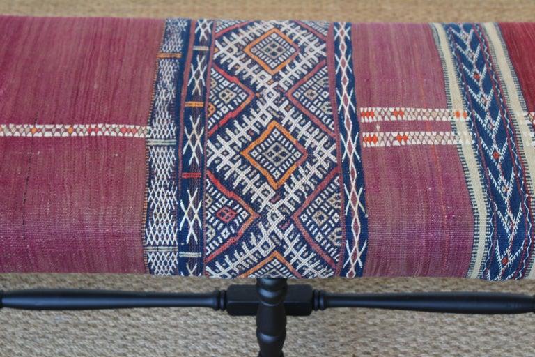 Vintage Bench Upholstered in a Turkish Kilim Rug For Sale 1