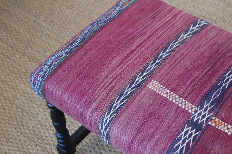Vintage Bench Upholstered in a Turkish Kilim Rug For Sale 2