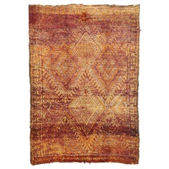 Vintage Beni M'Guild Moroccan Rug with a Diamond Pattern in Warm, Spicy Hues