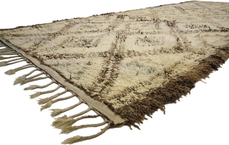 Hand-Knotted Vintage Beni M'Guild Moroccan Rug with Cozy Hygge Style, Berber Moroccan Rug For Sale