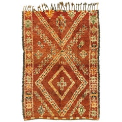 Vintage Beni M'Guild Moroccan Rug with Mid-Century Modern Style
