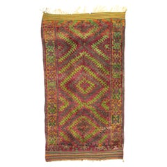 Vintage Beni M'Guild Moroccan Rug with Retro Postmodern Style