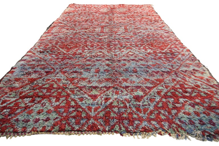 Hand-Knotted Vintage Beni M'Guild Rug, Berber Moroccan Rug with Tribal Style For Sale