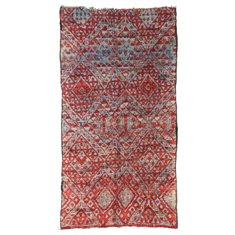 Vintage Beni M'Guild Rug, Berber Moroccan Rug with Tribal Style For Sale