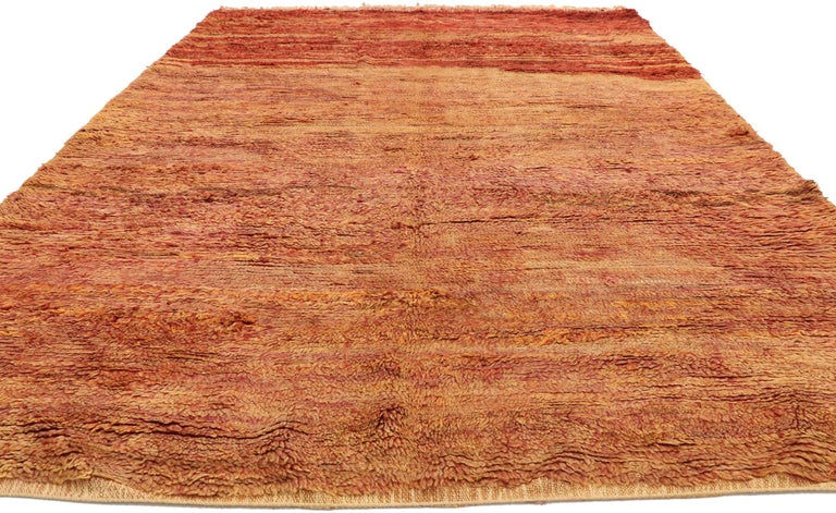 Hand-Knotted Vintage Beni Mrirt Berber Moroccan Rug with Rustic Mid-Century Modern Style For Sale