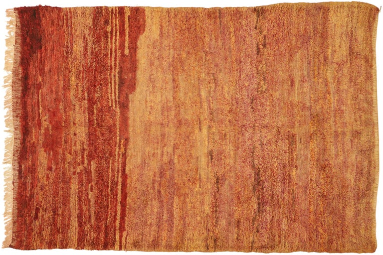 Vintage Beni Mrirt Berber Moroccan Rug with Rustic Mid-Century Modern Style For Sale 3