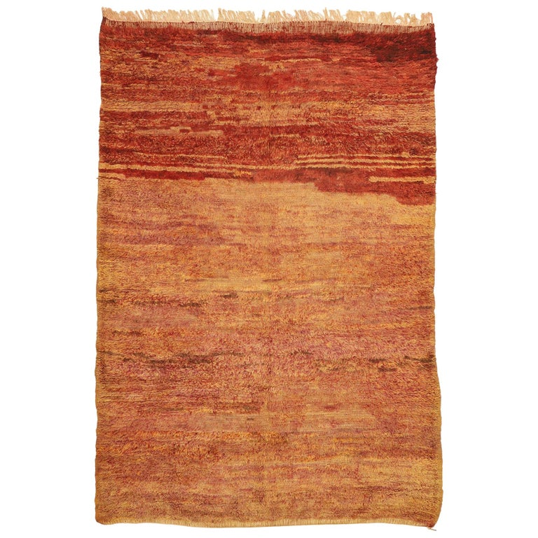 Vintage Beni Mrirt Berber Moroccan Rug with Rustic Mid-Century Modern Style For Sale