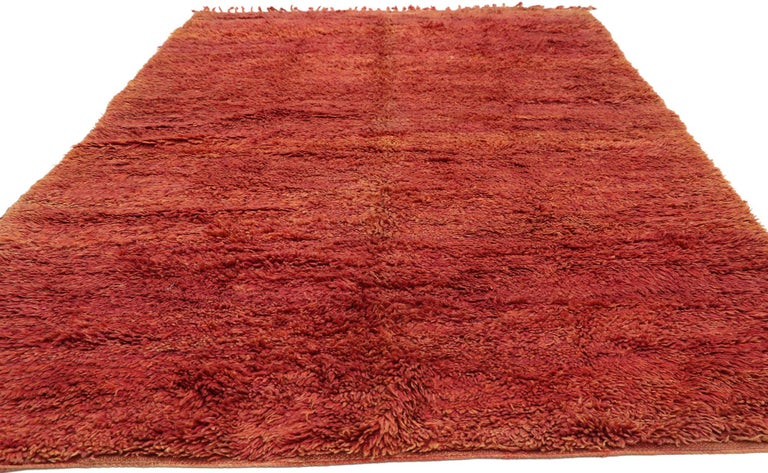 Hand-Knotted Vintage Beni Mrirt Rug with Mid-Century Modern Style, Berber Red Moroccan Rug For Sale