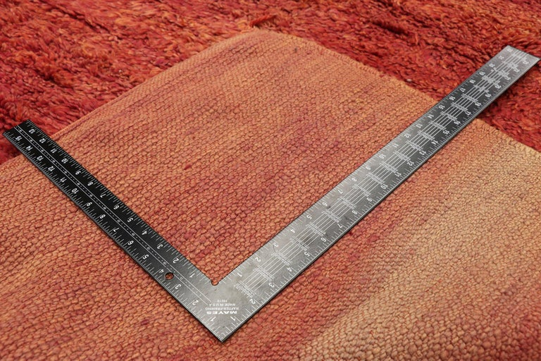 20th Century Vintage Beni Mrirt Rug with Mid-Century Modern Style, Berber Red Moroccan Rug For Sale
