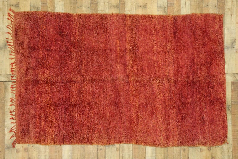 Vintage Beni Mrirt Rug with Mid-Century Modern Style, Berber Red Moroccan Rug For Sale 2