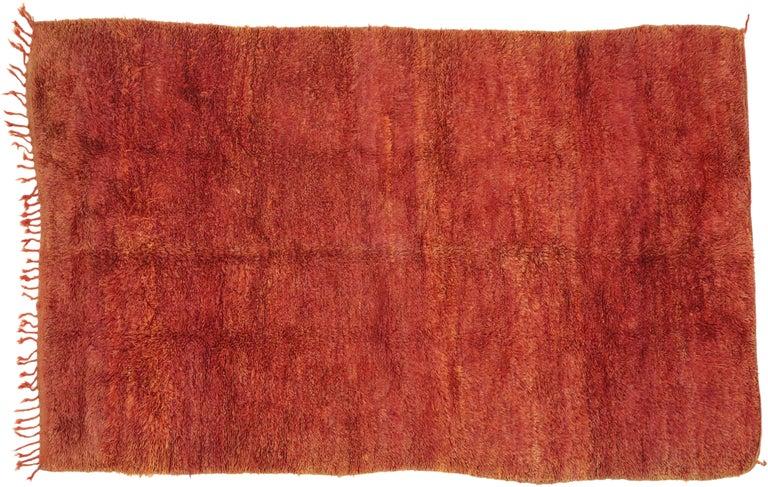 Vintage Beni Mrirt Rug with Mid-Century Modern Style, Berber Red Moroccan Rug For Sale 3