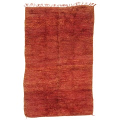Vintage Beni Mrirt Rug with Mid-Century Modern Style, Berber Red Moroccan Rug