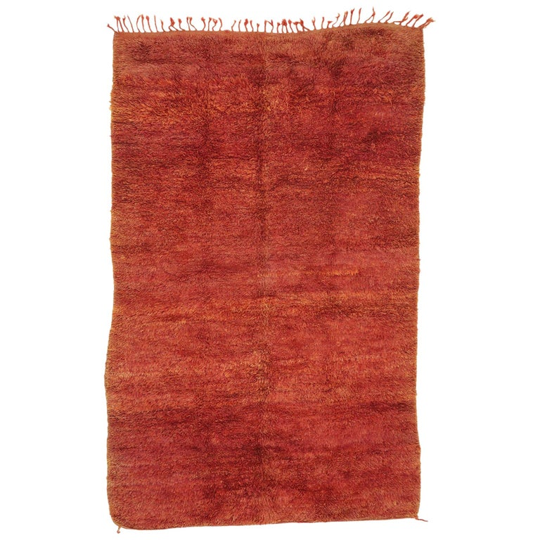 Vintage Beni Mrirt Rug with Mid-Century Modern Style, Berber Red Moroccan Rug For Sale