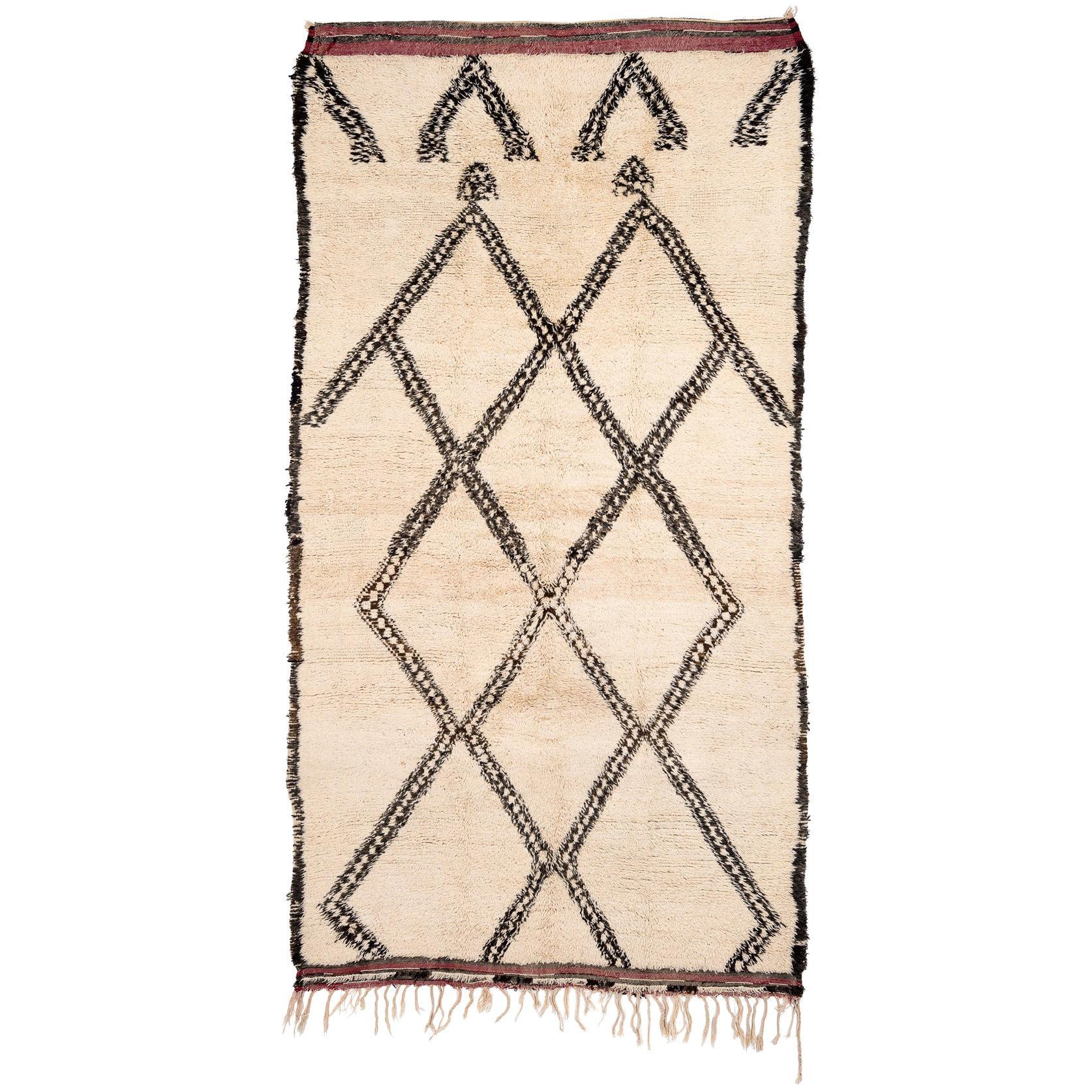 Vintage Beni Ouarain Morocan Berber Tribal Rug