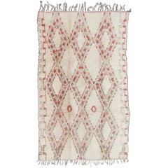 Vintage Beni Ouarain Moroccan Rug in White, Ivory, Taupe, Green and Rose Colors